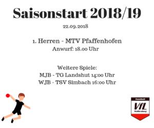 Saisonstart der Handballer am 22.09.2018
